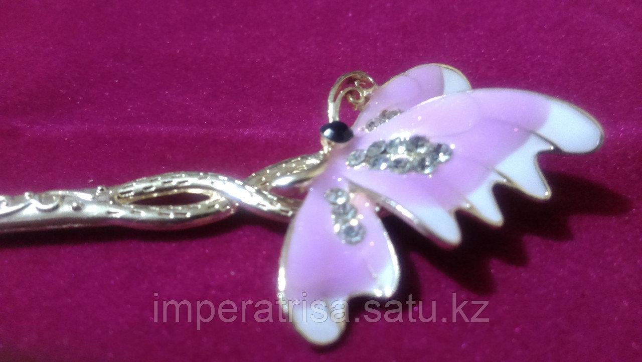 """Японская палочка-шпилька для волос""""Фиолетовая бабочка"""""""