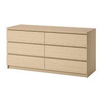 Комод с 6 ящиками МАЛЬМ дубовый шпон, беленый ИКЕА, IKEA, фото 1