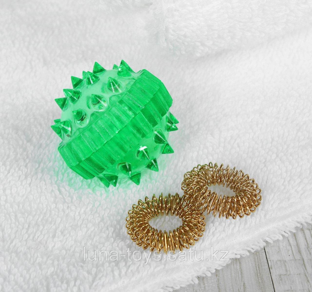 """Массажер """"Массажный шарик"""" для интересного воздействия в комплекте с двумя кольцевыми пружинами, цве"""