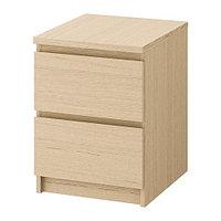 Тумба с 2 ящиками МАЛЬМ дубовый шпон, беленый ИКЕА, IKEA