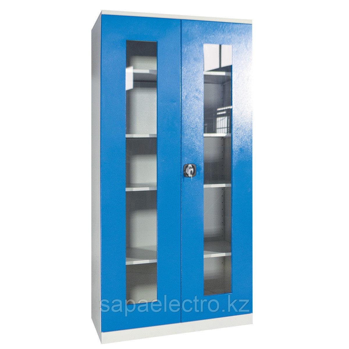 Металл.Шкаф со стеклянными дверцами (серо-синий)(10