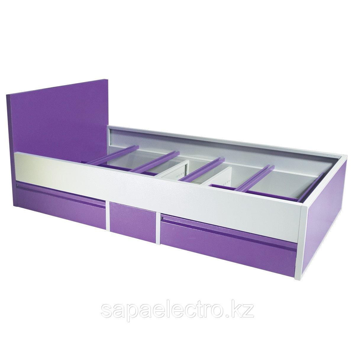 Кровать одноярусная металлическая с выдвижными ящик