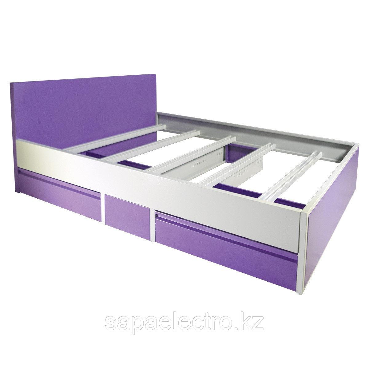 Кровать двухспальная металлическая c выдвижными ящи