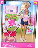 Немного помятая!!!  8380 Defa Lucy Барби малыш с коляской акссе. 33*24см, фото 2