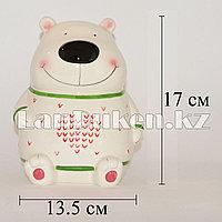 Копилка керамическая медведь в белом свитере (большая)