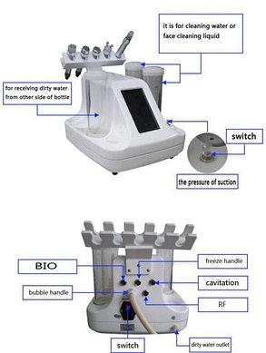 Косметологический комбайн 6 в1 Аквапилинг, Мультиполярный RF лифтинг, Крио, Барофорез, Микротоки, фото 2
