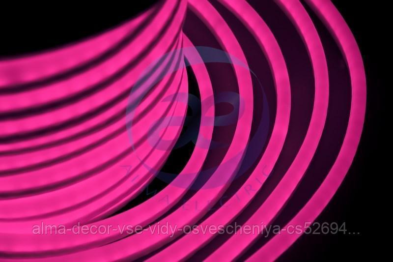 Гибкий Неон LED - розовый, оболочка розовая, бухта 50м
