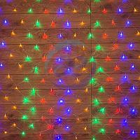 """Гирлянда """"Сеть"""" 1х1,5м, прозрачный ПВХ, 96 LED Мультиколор, фото 1"""