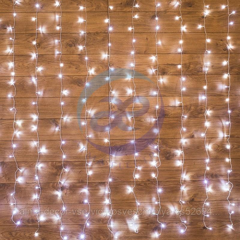 """Гирлянда """"Светодиодный Дождь"""" 1,5х1м, свечение с динамикой, прозрачный провод, 230 В, диоды БЕЛЫЕ"""