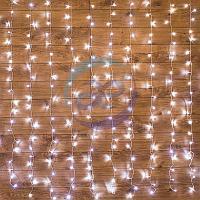 """Гирлянда """"Светодиодный Дождь"""" 1,5х1,5м, свечение с динамикой, прозрачный провод, 230 В, диоды БЕЛЫЕ"""