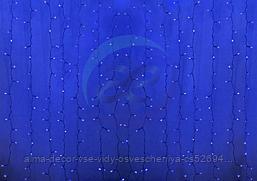"""Гирлянда """"Светодиодный Дождь"""" 2х1,5м, постоянное свечение, прозрачный провод, 230 В, диоды СИНИЕ, 192 LED"""