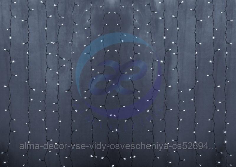 """Гирлянда """"Светодиодный Дождь"""" 2х1,5м, постоянное свечение, прозрачный провод, 230 В, диоды БЕЛЫЕ, 192 LED"""