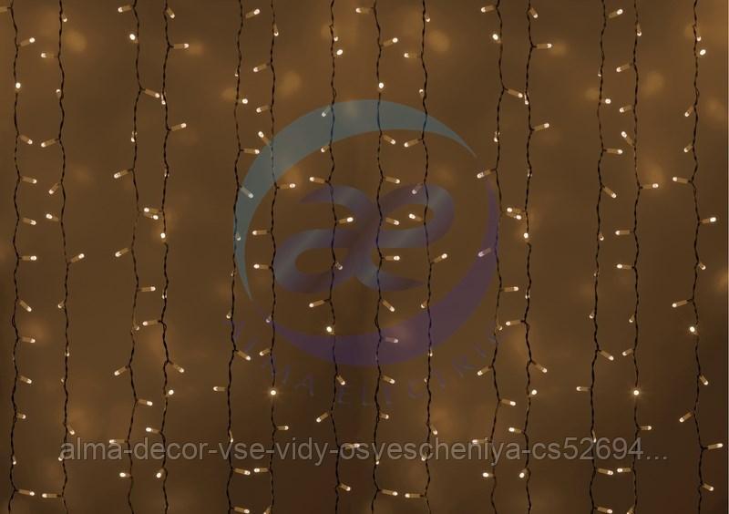 """Гирлянда """"Светодиодный Дождь"""" 2х1,5м, постоянное свечение, белый провод, 230 В, диоды ТЕПЛЫЙ БЕЛЫЙ, 360 LED"""