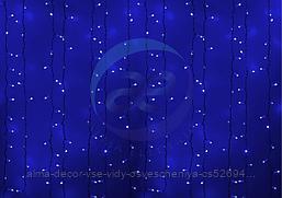 """Гирлянда """"Светодиодный Дождь"""" 2х3м, постоянное свечение, белый провод, 230 В, диоды СИНИЕ, 760 LED"""