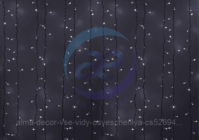 """Гирлянда """"Светодиодный Дождь"""" 2х3м, эффект мерцания, белый провод, 230 В, диоды БЕЛЫЕ, 760 LED"""