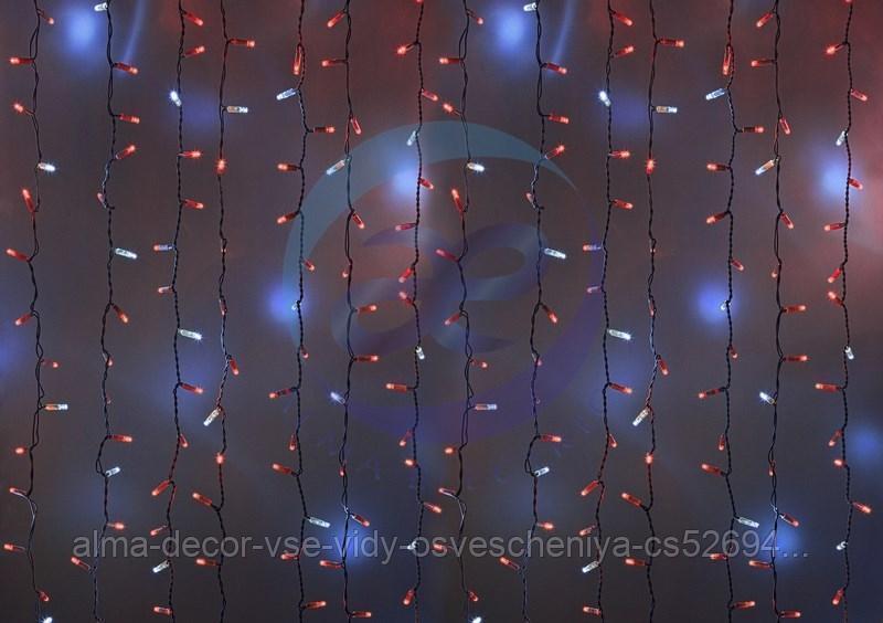 """Гирлянда """"Светодиодный Дождь"""" 2х3м, эффект мерцания, белый провод, 230 В, диоды КРАСНЫЕ, 760 LED"""