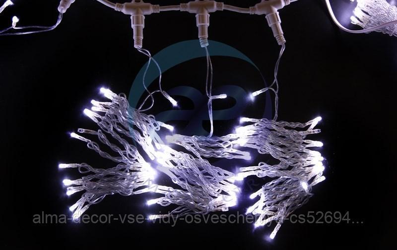 """Гирлянда """"Светодиодный Дождь"""" 2х3м, эффект мерцания, прозрачный провод, 230 В, диоды ТЕПЛЫЙ БЕЛЫЙ, 760 LED"""