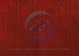 """Гирлянда """"Светодиодный Дождь"""" 2х6м, постоянное свечение, черный провод, 230 В, диоды КРАСНЫЕ, 1500 LED"""