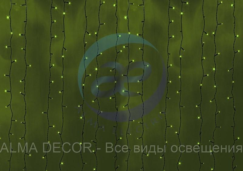"""Гирлянда """"Светодиодный Дождь"""" 2х6м, постоянное свечение, черный провод, 230 В, диоды ЗЕЛЕНЫЕ, 1500 LED"""