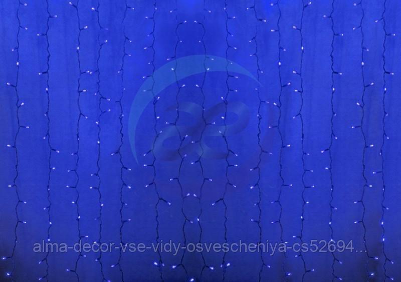 """Гирлянда """"Светодиодный Дождь"""" 2х6м, постоянное свечение, прозрачный провод, 230 В, диоды СИНИЕ, 1500 LED"""