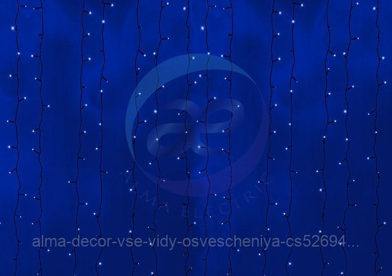 """Гирлянда """"Светодиодный Дождь"""" 2х9м, постоянное свечение, черный провод, 230 В, диоды СИНИЕ, 2200 LED"""