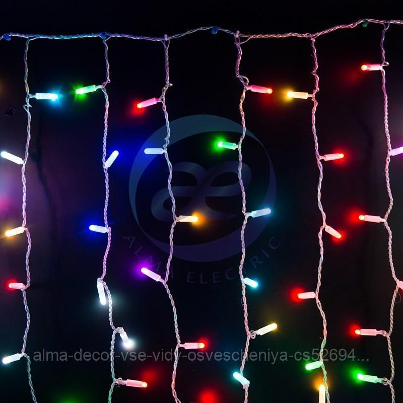 """Гирлянда """"Светодиодный Дождь"""" 2х1,5м, прозрачный провод, 230 В, диоды RGB, 300 LED свечение с динамикой при"""
