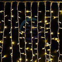 """Гирлянда """"Светодиодный Дождь"""" 2х3м, постоянное свечение, белый провод """"КАУЧУК"""", 230 В, диоды ЖЁЛТЫЕ, 760 LED, фото 1"""