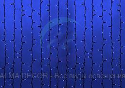 """Гирлянда """"Светодиодный Дождь"""" 2х6м, постоянное свечение, черный провод """"КАУЧУК"""", 230 В, диоды СИНИЕ, 1500 LED"""