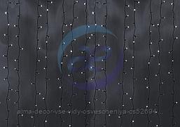 """Гирлянда """"Светодиодный Дождь"""" 2х9м, эффект водопада, черный провод, 230 В, диоды БЕЛЫЕ, 2200 LED"""