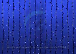 """Гирлянда """"Светодиодный Дождь"""" 2х9м, постоянное свечение, черный провод """"КАУЧУК"""", 230 В, диоды СИНИЕ, 2200 LED"""