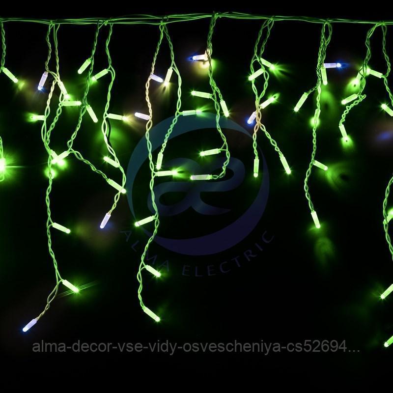 "Гирлянда ""Айсикл"" 4,8х0,6 м, с эффектом мерцания, белый ПВХ, 176LED, цвет: Зелёный, 220В"