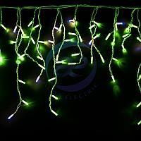 """Гирлянда """"Айсикл"""" 4,8х0,6 м, с эффектом мерцания, белый ПВХ, 176LED, цвет: Зелёный, 220В, фото 1"""