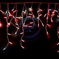 """Гирлянда """"Айсикл"""" 4,8х0,6 м, с эффектом мерцания, белый ПВХ, 176LED, цвет: Красный, 220В"""