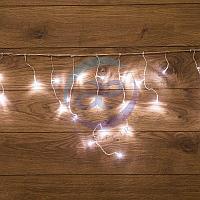 Гирлянда Айсикл (бахрома) светодиодный, 1,8 х 0,5 м, прозрачный провод, 230 В, диоды белые, фото 1