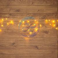 Гирлянда Айсикл (бахрома) светодиодная, 1,8 х 0,5 м, прозрачный провод, 230 В, диоды ТЕПЛЫЙ БЕЛЫЙ