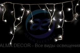 Гирлянда Айсикл (бахрома) светодиодный, 1,8 х 0,5 м, белый провод, 230 В, диоды ТЕПЛЫЙ БЕЛЫЙ, 48 LED