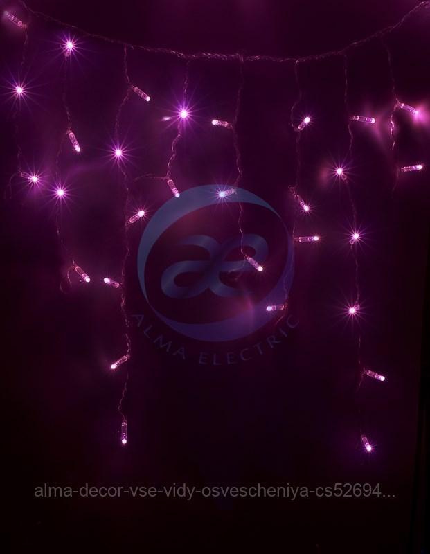 Гирлянда Айсикл (бахрома) светодиодный, 2,4 х 0,6 м, белый провод, 230 В, диоды розовые, 88 LED NEON-NIGHT