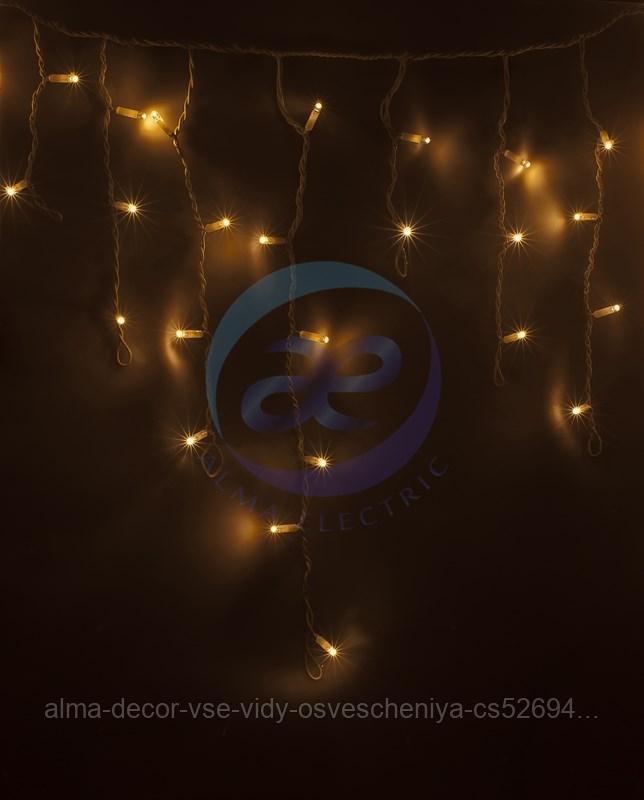Гирлянда Айсикл (бахрома) светодиодный, 2,4 х 0,6 м, белый провод, 230 В, диоды ТЕПЛЫЙ БЕЛЫЙ, 88 LED