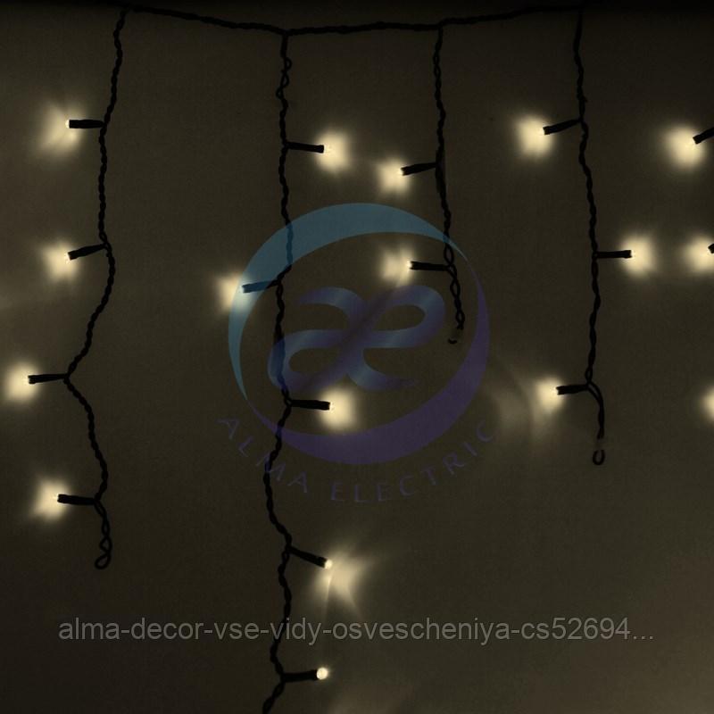 Гирлянда Айсикл (бахрома) светодиодный, 2,4 х 0,6 м, черный провод, 230 В, диоды ТЕПЛЫЙ БЕЛЫЙ, 88 LED NEON-NIGHT