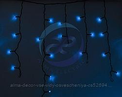 Гирлянда Айсикл (бахрома) светодиодный, 4,8 х 0,6 м, черный провод, 230 В, диоды синие, 176 LED NEON-NIGHT