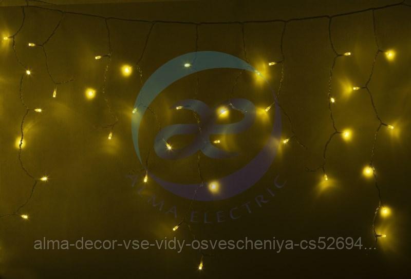 Гирлянда Айсикл (бахрома) светодиодный, 4,8 х 0,6 м, прозрачный провод, 230 В, диоды желтые, 176 LED