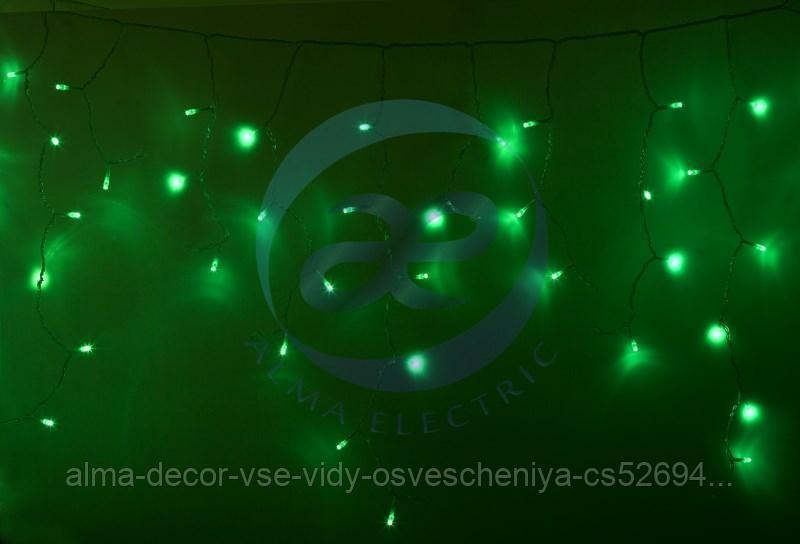 Гирлянда Айсикл (бахрома) светодиодный, 4,8 х 0,6 м, прозрачный провод, 230 В, диоды зеленые, 176 LED