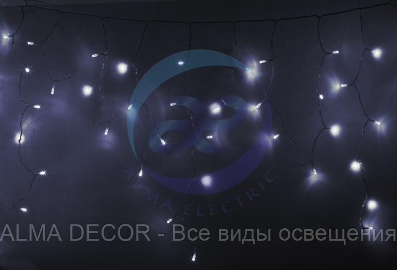 Гирлянда Айсикл (бахрома) светодиодный, 4,8 х 0,6 м, прозрачный провод, 230 В, диоды белые, 176 LED NEON-NIGHT