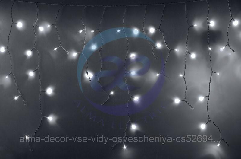 Гирлянда Айсикл (бахрома) светодиодный, 4,8 х 0,6 м, белый провод, 230 В, диоды белые, 152 LED