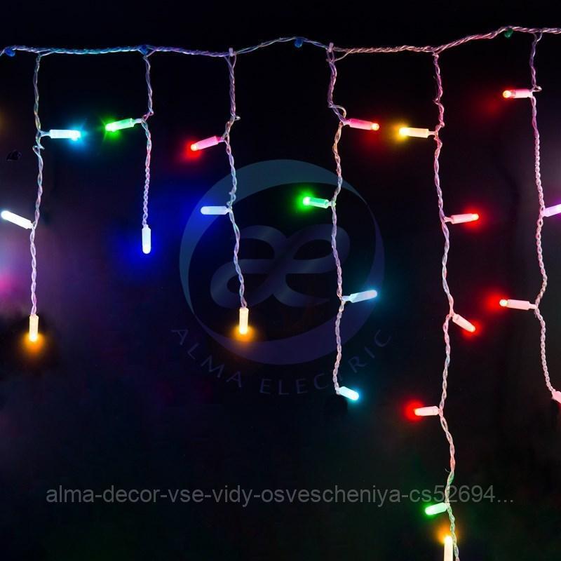 Гирлянда Айсикл (бахрома) светодиодный, 4,8 х 0,6 м, прозрачный провод, 230 В, диоды RGB, 176 LED NEON-NIGHT
