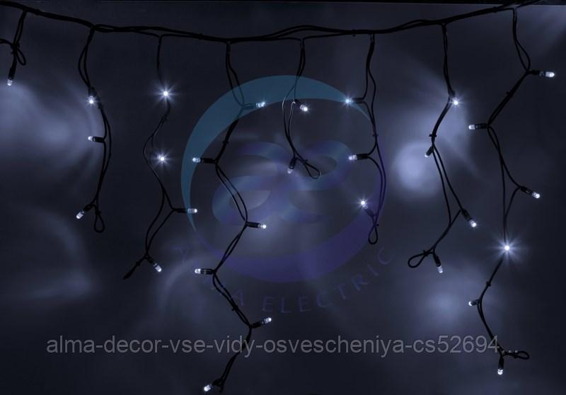 """Гирлянда Айсикл (бахрома) светодиодный, 3,2 х 0,6 м, черный провод """"КАУЧУК"""", 230 В, диоды белые, 88 LED"""