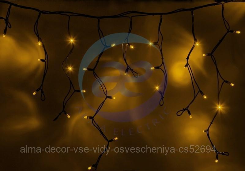 """Гирлянда Айсикл (бахрома) светодиодный, 4,0 х 0,6 м, черный провод """"КАУЧУК"""", 230 В, диоды желтые, 128 LED"""