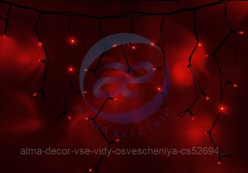 """Гирлянда Айсикл (бахрома) светодиодный, 4,0 х 0,6 м, черный провод """"КАУЧУК"""", 230 В, диоды красные, 128 LED"""