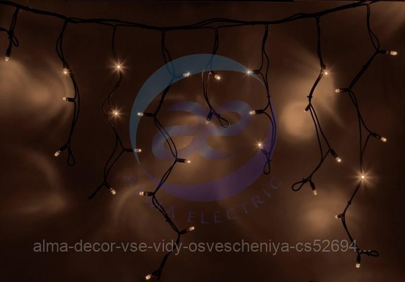 """Гирлянда Айсикл (бахрома) светодиодный, 4,0 х 0,6 м, черный провод """"КАУЧУК"""", 230 В, диоды ТЕПЛЫЙ БЕЛЫЙ, 128"""
