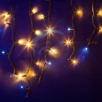 """Гирлянда Айсикл (бахрома) светодиодный, 4,0 х 0,6 м, с эффектом мерцания, черный провод """"КАУЧУК"""", 230 В, диоды ТЕПЛЫЙ БЕЛЫЙ, 128 LED NEON-NIGHT"""